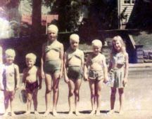 Barb, Ford Miles, Grace, Rica, Jackie Miles, Wilda Eskew, 1947, Corydon