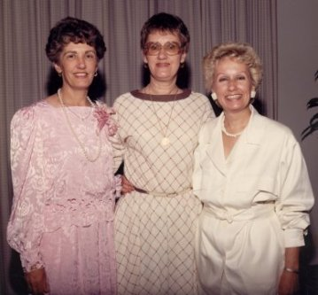 Grace, Ann, Sue at Amy's wedding, 1986
