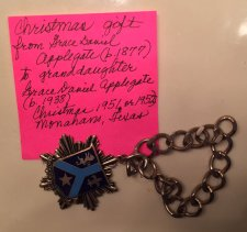 Grace's bracelet from grandmother Bobbie, Christmas 1951 or 1952