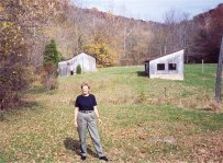 Grace on remains of Sibert farm in White Cloud, near Corydon, 1982