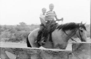 Grace and Rica on Old Dun, 1949