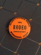 Grace's rodeo button, 1951
