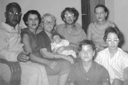 Ann, Bobbie, baby Pete, Grace, Maggie, Barb, Rica, 1955