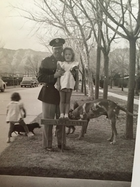 Ted holding Grace (Rica at left), Fort Bliss, 1943