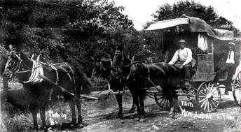 A stagecoach line ran from Paoli to New Albany on old highway route 150; photo taken in 1912.