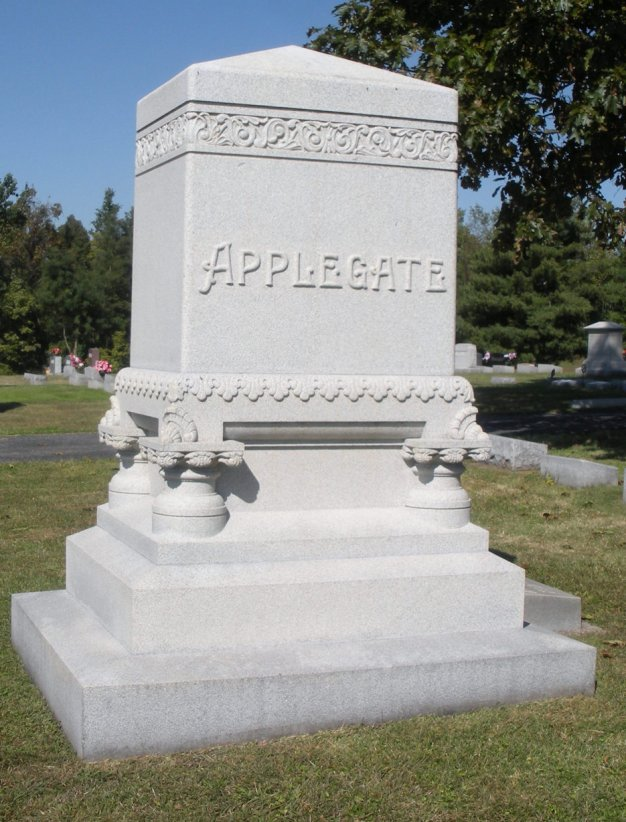 Main Applegate marker in Applegate section of Cedar Hill Cemetery, Corydon, IN