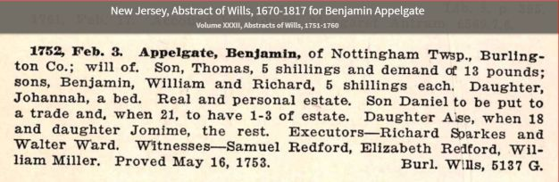 Will of Benjamin Applegate 3 Feb 1752