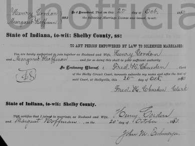 Henry Gordon and Margaret Hoffman marriage certificate