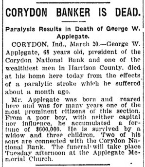 Death of George W. Applegate, 20 March 1910