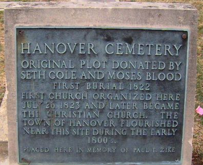 Seth Cole and Hanover Cemetery plaque