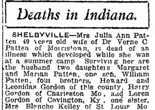 Julia Anne Gordon Patten obit, 1921