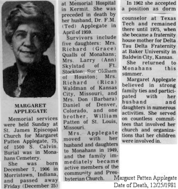 Margaret Patten Applegate obituary, 1981