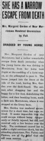Margaret Gordon injured in a buggy accident, 4 Sep 1913
