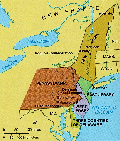 Map showing early New Jersey