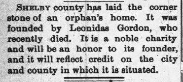 Article about orphans' home, 1891