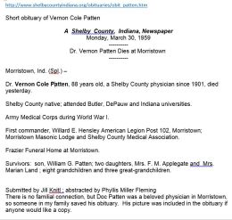 Vernon Cole Patten short obituary, 1959