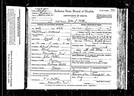 William L. Patten death certification, 1903