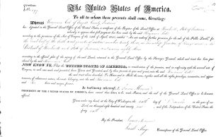 Ben Cole (1750-1822) land certificate signed by President James Monroe
