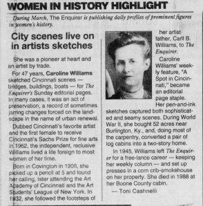 Caroline Williams, Cincinnati Enquirer, Mar 4, 1994
