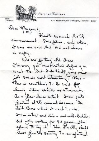 Caroline to Maggie Applegate, pg 1, 1974