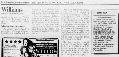Caroline Williams, Part 2, Cinci Enquirer, 05 Aug 1988