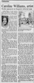 Caroline Williams obit, 10 Mar 1988