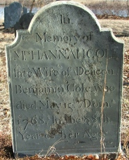 Hannah Eddy Cole (1680-1768) stone