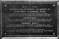 Plaque commemorating John and Samuel Eddy