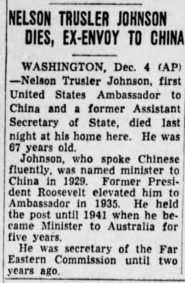 Nelson T Johnson, St. Louis Post Dispatch, Dec 5, 1954