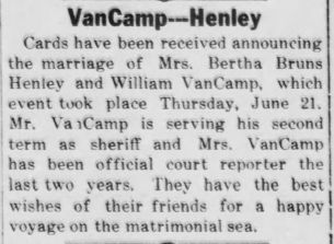 William VanCamp and Bertha Bruns Henley wed, 26 July 1923