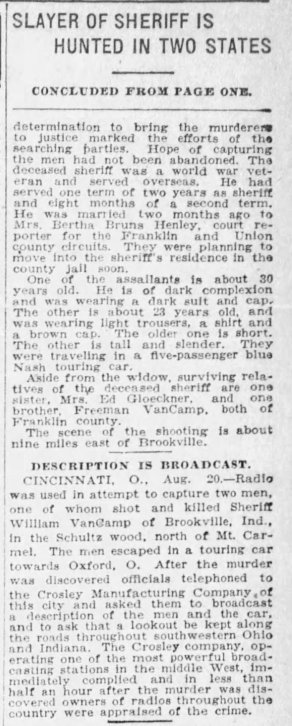 VanCamp, Indianapolis Star, Aug 21, 1923, part 2