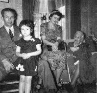 Margaret Hoffman Gordon, far right, at her 90th birthday celebration in 1951.