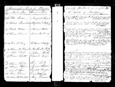 Oliver Daniel and Martha Mills record of marriage, 1831